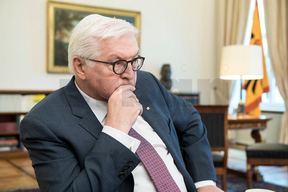 02 JUL 2018, BERLIN/GERMANY:<br /> Frank-Walter Steinmeier, Bundespraesident, waehrend einem Interview, Amtszimmer des Bundespraesidenten, Schloss Bellevue<br /> IMAGE: 20180702-01-014<br /> KEYWORDS: Bundespräsident