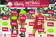 Vitality Netball International Series advertising during the Netball World Cup 2019 Preparation match between England Women and Uganda at Copper Box Arena, Queen Elizabeth Olympic Park, United Kingdom on 30 November 2018.