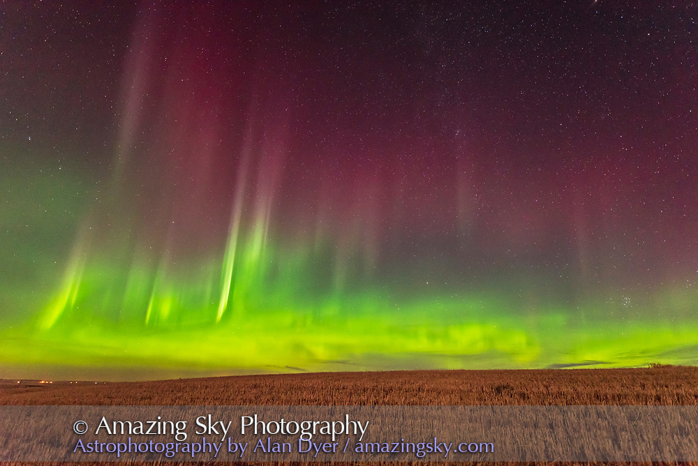 The aurora of September 27, 2017 from home in southern Alberta, in a view looking north toward the main auroral curtain. The Big Dipper is at left. <br /> <br /> This is a single frame from a 700-frame time-lapse. <br /> <br /> This is 2 seconds at f/1.8 with the Sigma 14mm Art lens and Nikon D750 at ISO 2500. <br /> <br /> The setting waxing Moon is providing the foreground illumination.