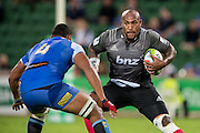 Nemani Nadolo of the BNZ Crusaders looks to take on Sitiveni Mafi of the Western Force during the Canterbury Crusaders v the Western Force Super Rugby Match. Nib Stadium, Perth, Western Australia, 8th April 2016. Copyright Image: Daniel Carson / www.photosport.nz