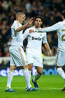 20120107: MADRID, SPAIN - BBVA League: Football macht between Real Madrid C.F vs Granada in Santiago Bernabeu, Madrid, Spain.<br /> In photo: Karim Benzema celebrating a goal.<br /> PHOTO: CITYFILES