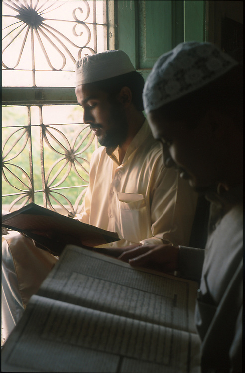 photo : Nadav Neuhaus..root of the Taliban.India , October2001...Darul-uloom-Deoband based at Saharanpur, 300 km north west of Indian capital New Delhi in Uttar Pradesh state..student learning Koran