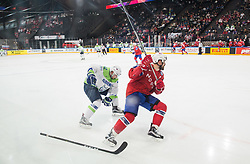 Anze Kuralt of Slovenia vs Jonas Holos of Norway during the 2017 IIHF Men's World Championship group B Ice hockey match between National Teams of Slovenia and Norway, on May 9, 2017 in Accorhotels Arena in Paris, France. Photo by Vid Ponikvar / Sportida