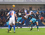 Hope Akpan of Blackburn Rovers scores his team's 1st goal to make it 1-0 during the Sky Bet Championship match at Ewood Park, Blackburn<br /> Picture by Russell Hart/Focus Images Ltd 07791 688 420<br /> 28/11/2015