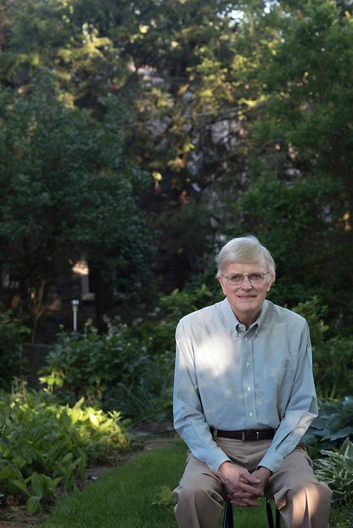 David McKibben in his garden surrounding his Mt Lebanon home.