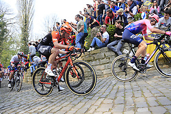 The peloton including Taylor Phinney (USA) EF Education First and Stijn Steels (BEL) Roompot-Charles on the Muur Kapelmuur Geraardsbergen during the 2019 Ronde Van Vlaanderen 270km from Antwerp to Oudenaarde, Belgium. 7th April 2019.<br /> Picture: Eoin Clarke | Cyclefile<br /> <br /> All photos usage must carry mandatory copyright credit (© Cyclefile | Eoin Clarke)