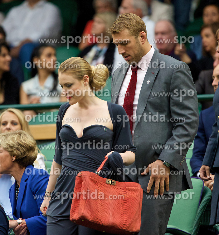 28.06.2014, All England Lawn Tennis Club, London, ENG, WTA Tour, Wimbledon, im Bild Chris Robshaw and his girlfriend Camilla Kerslake-Morgan in the Royal Box on day six // 15065000 during the Wimbledon Championships at the All England Lawn Tennis Club in London, Great Britain on 2014/06/28. EXPA Pictures &copy; 2014, PhotoCredit: EXPA/ Propagandaphoto/ David Rawcliffe<br /> <br /> *****ATTENTION - OUT of ENG, GBR*****
