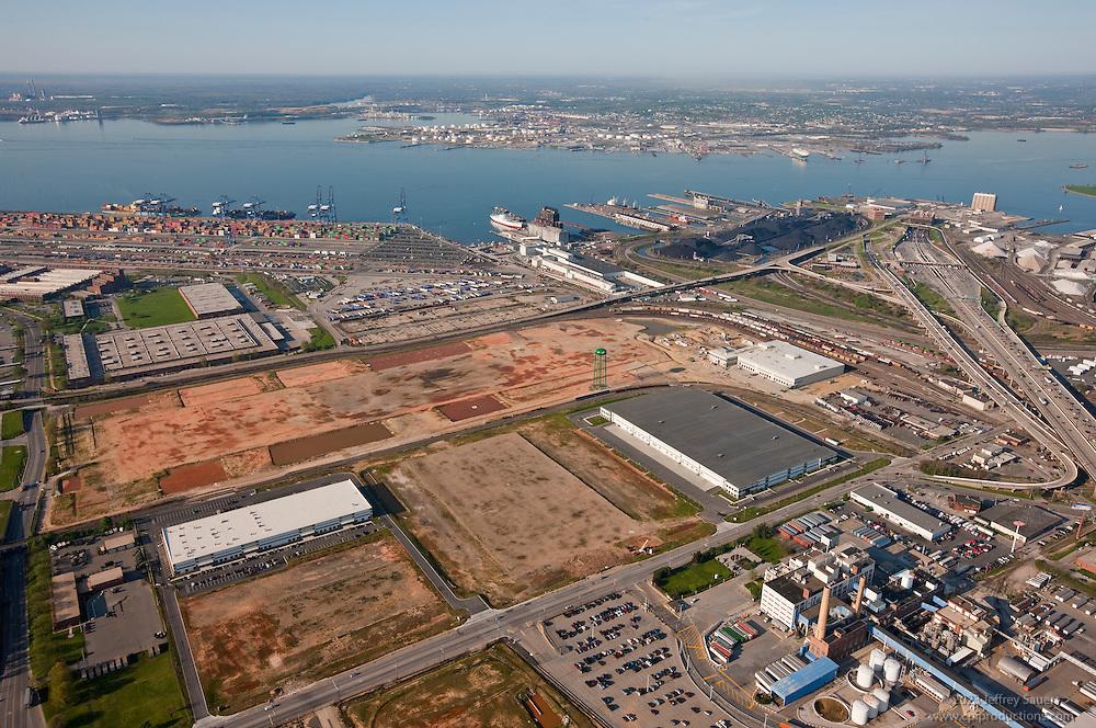 Aerial photo of old General Motors property toward Rukert Terminal and the Patapsco River