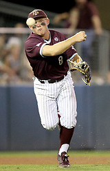 Texas A&M's Boomer White (8) throws the ball to first for an out against TCU during the 3rd inning of a NCAA college baseball super regional tournament game, Friday, June 10, 2016, in College Station, Texas. (AP Photo/Sam Craft)
