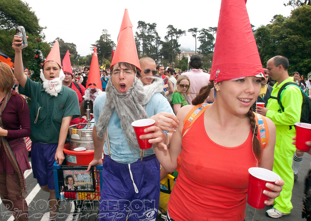 Unidentified, beer-swilling gnomes make their way through Golden Gate Park, at the 97th running of the Bay to Breakers 12K footrace in San Francisco, Sunday, May 18, 2008. The 7.46-mile race, which attracts upwards of 60,000 participants, is well known for its wacky costumes -- and those who wear nothing at all. (Photo by D. Ross Cameron)