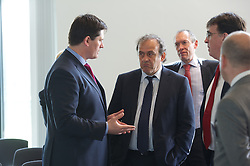 NEWPORT, WALES - Saturday, April 20, 2013: UEFA President Michel Platini and Welsh Football Trust Chief Executive Neil Ward at the opening of the FAW National Development Centre in Newport. (Pic by David Rawcliffe/Propaganda)