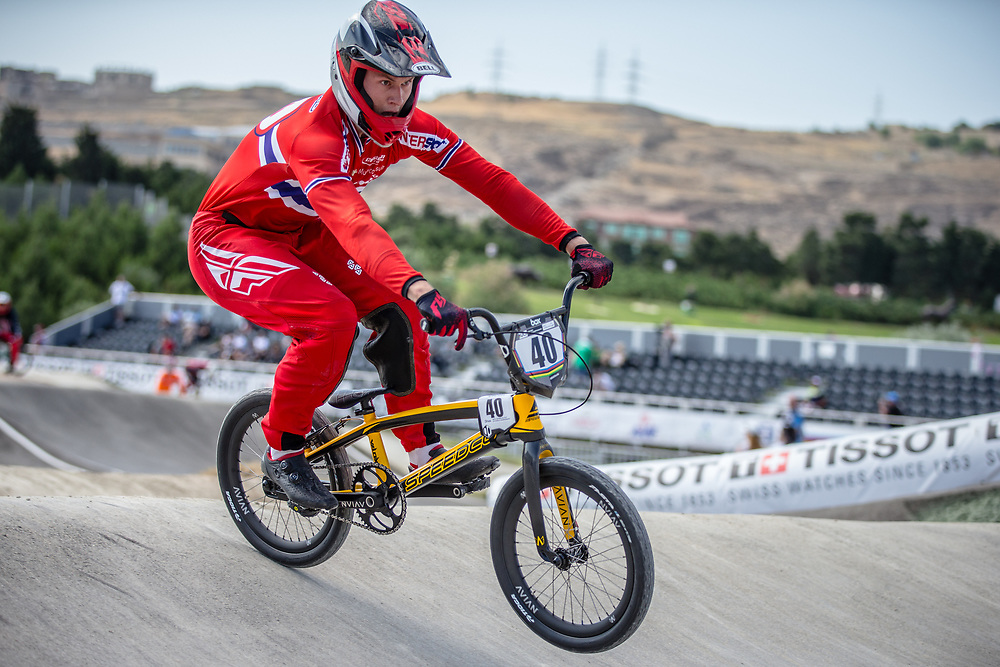 Men Elite #40 (NAVRESTAD Tore) NOR the 2018 UCI BMX World Championships in Baku, Azerbaijan.