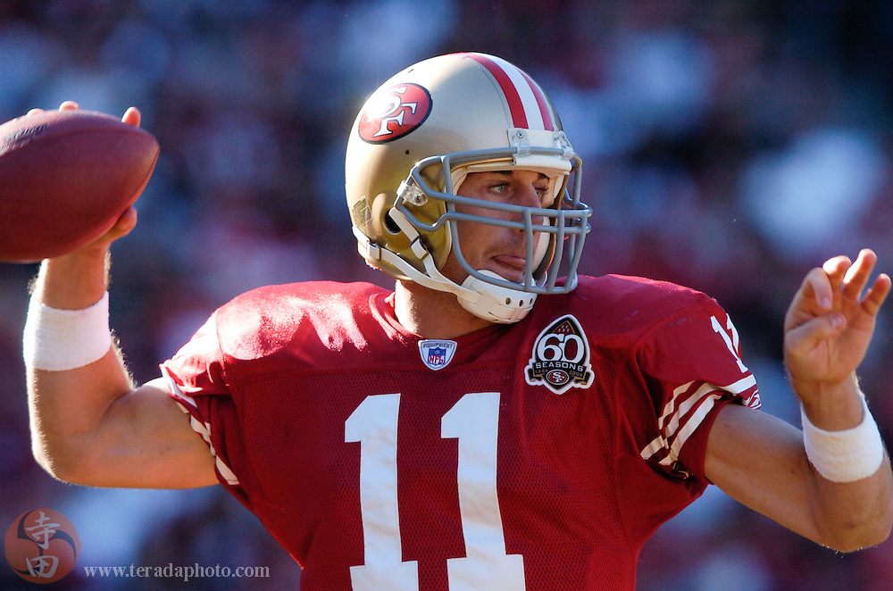 Nov 5, 2006 San Francisco, CA, USA: San Francisco 49ers quarterback Alex Smith (11) passes the football during the second quarter against the Minnesota Vikings at Monster Park. The 49ers defeated the Vikings 9-3.