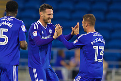 CARDIFF, WALES - Wednesday, August 17, 2016: Cardiff City's Sean Morrison celebrates scoring the second goal against Blackburn Rovers with team-mate Anthony Pilkington during the Football League Championship match at Cardiff City Stadium. (Pic by David Rawcliffe/Propaganda)