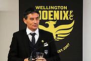 Wellington Phoenix Coach Darije Kalezic speaks at the dawn ceremony for the new logo unveiling of the Wellington Phoenix Football Club at The Wharewhaka Function Centre in Wellington, New Zealand on 10 August 2017.<br /> Copyright photo: Cameron McIntosh / www.photosport.nz