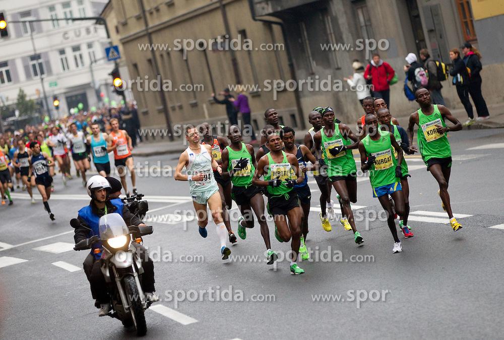 Runners of Kenya and Ethiopia in leading group during 16th International Ljubljana Marathon 2011 on October 23, 2011, in Ljubljana, Slovenia.  (Photo by Vid Ponikvar / Sportida)