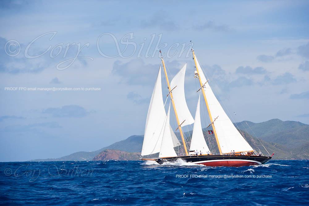 Aschanti IV sailing in the 2010 Antigua Classic Yacht Regatta, Windward Race, day 4.