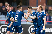 14th September 2019; Dens Park, Dundee, Scotland; Scottish Championship, Dundee Football Club versus Alloa Athletic; Danny Johnson of Dundee is congratulated after scoring for 1-0 by Cammy Kerr