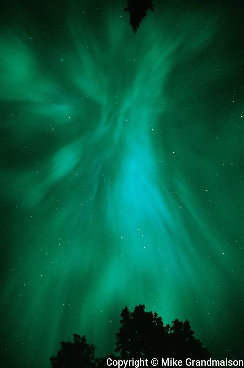 Northern lights (Aurora borealis) at Tilton Lake<br />Sudbury<br />Ontario<br />Canada
