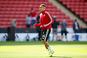 Ravel Morrison of Sheffield United warming up for the Premier League match between Sheffield United and Crystal Palace at Bramall Lane, Sheffield, England on 18 August 2019.