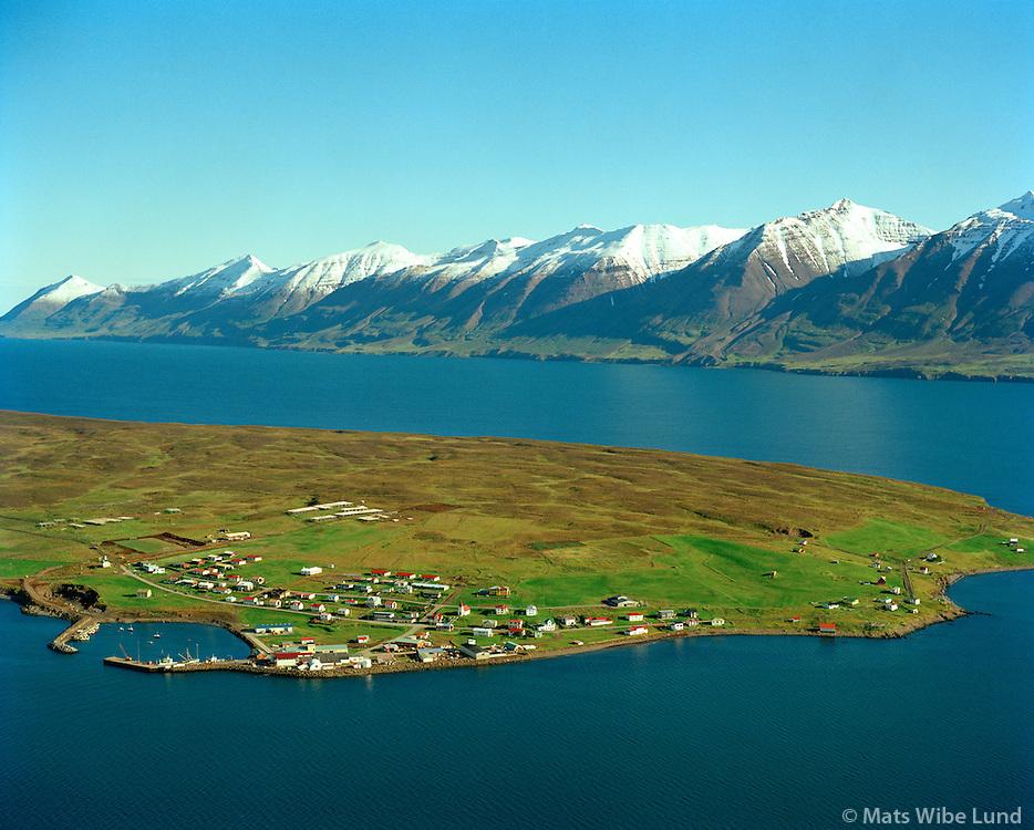 Hrísey, séð til norðausturs, Akureyrarbær / .Hrisey, viewing northeast