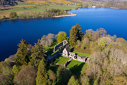 Aerial view of Inchmahome Priory on Inchmahome Island on the Lake of Menteith in Stirlingshire, Scotland, UK