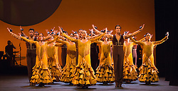 "© Licensed to London News Pictures. 26/02/2015. London, England. Photocall for Ballet Nacional de España. The comapny performs ""Feria"", the opening sequence of the piece ""Suite Sevilla"", choreographed by Antonio Najarro, artistic director of the Ballet Nacional de España, from 26 to 28 February 2015 at Sadler's Wells theatre. Feria is performed by 20 dancers and 1 singer (Saray Muñoz). The performance is part of the Flamenco Festival London 2015 which runs until 1 March. Photo credit: Bettina Strenske/LNP"