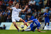 Portsmouth forward Curtis Main (14) and Gillingham FC defender Ben Nugent (19) during the EFL Sky Bet League 1 match between Gillingham and Portsmouth at the MEMS Priestfield Stadium, Gillingham, England on 8 October 2017. Photo by Martin Cole.