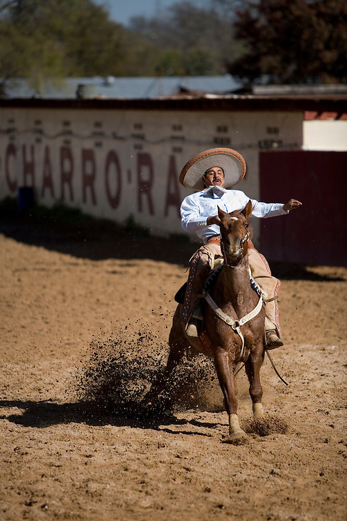 The Cala de Caballo demonstrates a charro's control over his horse.  From a full gallop a charro brings his horse to a sliding stop within the chalked boundaries.