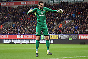 Eastleigh Keeper Ross Flitney celebrates during the The FA Cup Third Round Replay match between Bolton Wanderers and Eastleigh at the Macron Stadium, Bolton, England on 19 January 2016. Photo by Pete Burns.