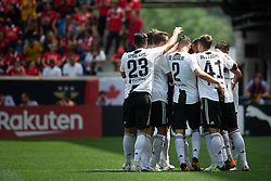 July 28, 2018 - Harrison, New Jersey, United States - Juventes players celebrate their goal during the International Champions Cup at Red Bull Arena in Harrison, NJ.  Juventes defeats SL Benfica 1-1  (Credit Image: © Mark Smith via ZUMA Wire)