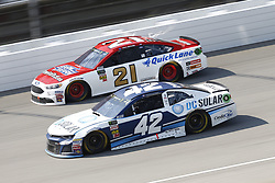 August 12, 2018 - Brooklyn, Michigan, United States of America - Kyle Larson (42) and Paul Menard (21) battle for position during the Consumers Energy 400 at Michigan International Speedway in Brooklyn, Michigan. (Credit Image: © Chris Owens Asp Inc/ASP via ZUMA Wire)