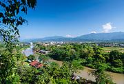High angle view overlooking Vang Vieng from the Tham Jang Caves, Laos.