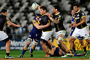 Alex Fidow of Wellington looks to offload during the Mitre 10 Competition match between Otago and Wellington at Forsyth Barr Stadium on August 25, 2016 in Dunedin, New Zealand. Credit: Joe Allison / www.Photosport.nz