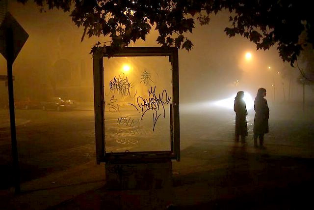 A nigth whit fog at Santiago's down town.