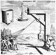 Von Guericke's demonstration of the strength of a vacuum. The man on the right is using an air pump to create the vacuum. The combined efforts of fifty men were used in the demonstration which took place at Ratisbon in 1654. From 'Experimenta Nova ut vocantur Magdeburgica De Vacuo Spatio' ('New Magdeburg Experiments About the Vacuum'), Otto von Guericke, (Amsterdam, 1672). Engraving.
