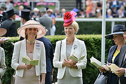 Left to right, LADY CAROLYN WARREN and ZOE WARREN at the 1st day of the Royal Ascot Racing Festival 2015 at Ascot Racecourse, Ascot, Berkshire on 16th June 2015.