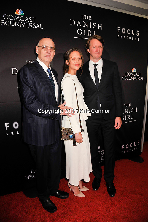 "Jeffrey Tambor, actor, Transparent; Alicia Vikander, actress, The Danish Girl; Tom Hooper, director, The Danish Girl attends the DC premiere of Focus Features' ""THE DANISH GIRL"" at the United States Navy Memorial in Washington DC on November 23, 2015.  (Photo by Kris Connor for Focus Features)"
