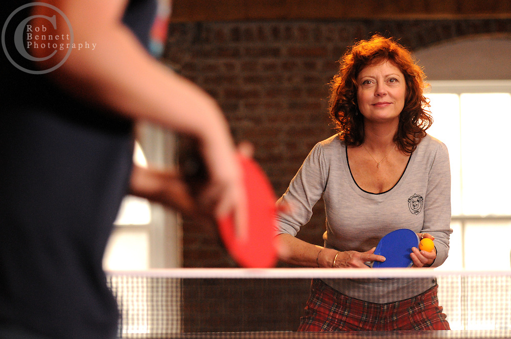 .---.New York, NY: Thursday, Nov. 6, 2008 : Story about the burgeoning ping pong scene in NY. Here, Susan Sarandon playing ping pong with her son, Miles..--.ROB BENNETT for The New York TImes