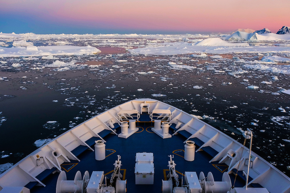 Onboard of National Geographic Orion, approaching the Lemaire Channel