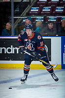 KELOWNA, CANADA - DECEMBER 27: Connor Zary #18 of the Kamloops Blazers warms up with the puck against the Kelowna Rockets on December 27, 2017 at Prospera Place in Kelowna, British Columbia, Canada.  (Photo by Marissa Baecker/Shoot the Breeze)  *** Local Caption ***