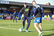 AFC Wimbledon striker Joe Pigott (39) warming up prior to kick off during the EFL Sky Bet League 1 match between AFC Wimbledon and Peterborough United at the Cherry Red Records Stadium, Kingston, England on 18 January 2020.