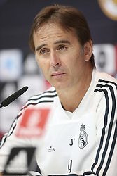 September 28, 2018 - Madrid, Spain - Real Madrid's Spanish coach Julen Lopetegui reacts during press conference before Atletico Madrid match in Madrdi, Spain, on 28 September. (Credit Image: © Raddad Jebarah/NurPhoto/ZUMA Press)