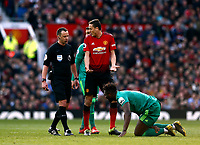 Football - 2018 / 2019 Premier League - Manchester United vs. Watford<br /> <br /> Nemanja Matic of Manchester United has words with referee Stuart Attwell, at Old Trafford.<br /> <br /> COLORSPORT/ALAN MARTIN