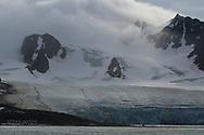 Scenes of Smeerenburgfjorden along coast of Spitsbergen island; Svalbard, Norway.