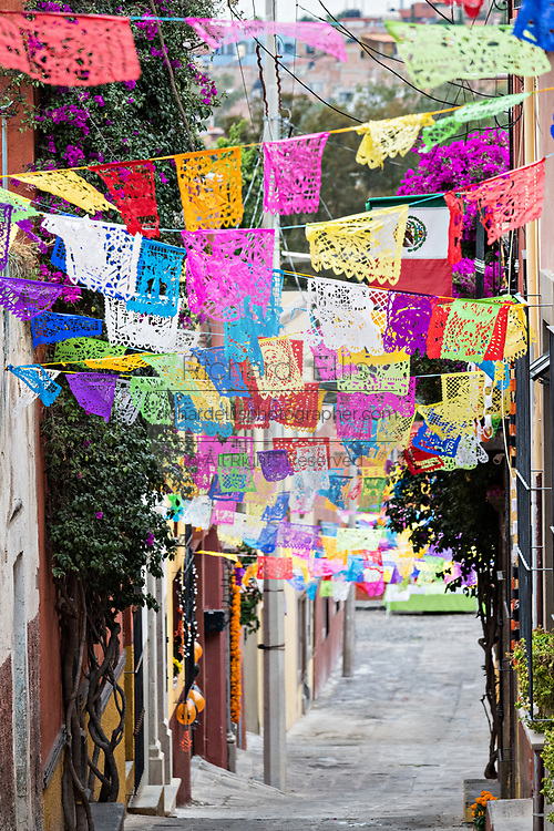Papel picado banners decorate an alley in preparation for a Dead of the Dead procession during the Dia de Muertos festival in San Miguel de Allende, Mexico. The multi-day festival is to remember friends and family members who have died using calaveras, aztec marigolds, alfeniques, papel picado and the favorite foods and beverages of the departed.