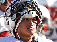 Great Oak's Aniel Chua (6) takes a break between plays during the Junior Varsity game at Temecula Valley High School.  Image Credit: Amanda Schwarzer