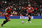 Joshua King (17) of AFC Bournemouth passes to Callum Wilson (13) of AFC Bournemouth during the Premier League match between Bournemouth and Manchester United at the Vitality Stadium, Bournemouth, England on 18 April 2018. Picture by Graham Hunt.