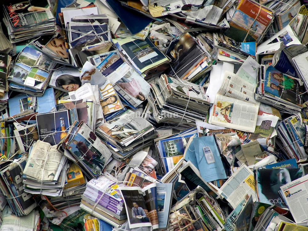 piles of magazines and newspapers for recycling