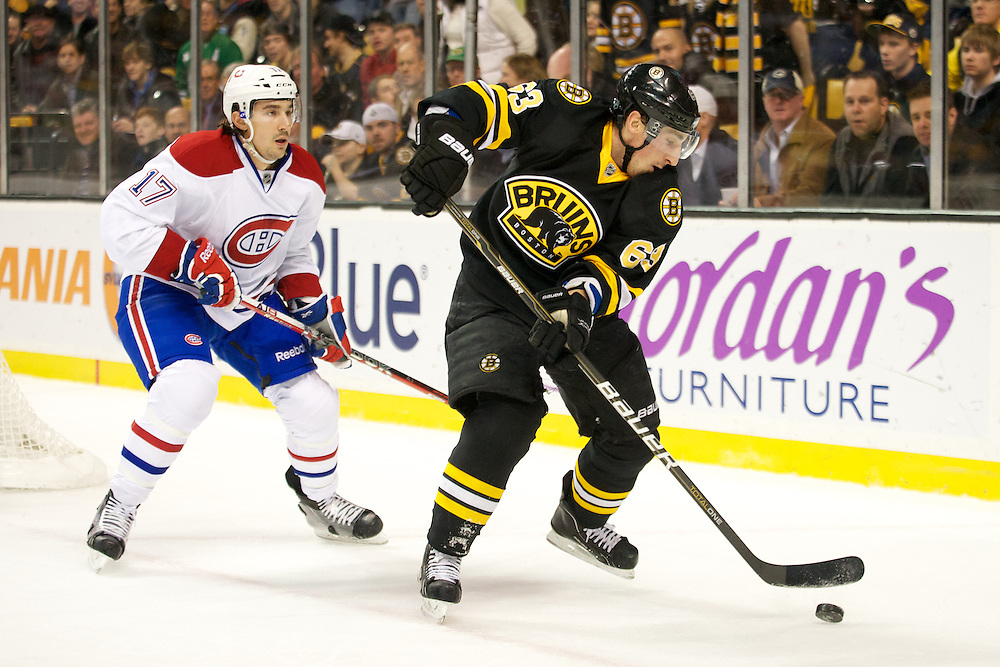 The NHL game between the Montreal Canadiens and the Boston Bruins at the TD Bank Garden on Monday night December 19, 2011 in Boston, Massachusetts.